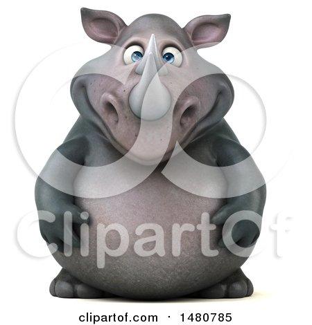 3d Reggie Rhinoceros Mascot, on a White Background Posters, Art Prints