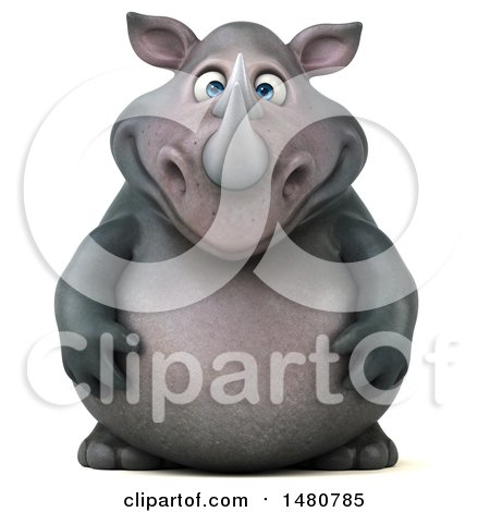 Clipart of a 3d Reggie Rhinoceros Mascot, on a White Background - Royalty Free Illustration by Julos