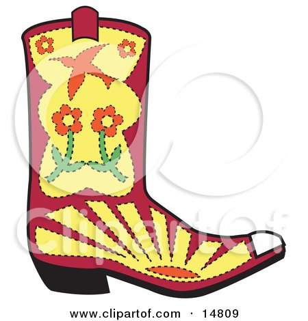 Pink Cowgirl Boot With Flowers, Sunset and a Bird Clipart Illustration by Andy Nortnik