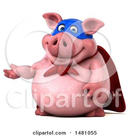 Clipart of a 3d Super Chubby Pig, on a White Background - Royalty Free Illustration by Julos