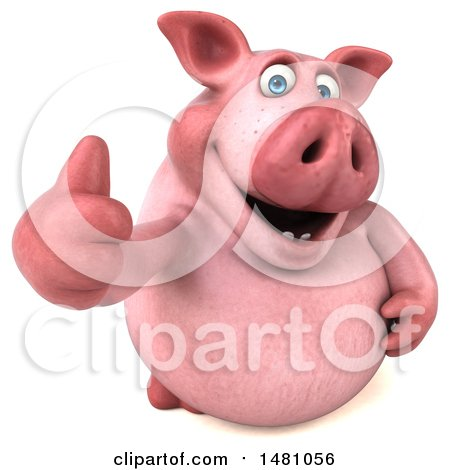 Clipart of a 3d Chubby Pig Giving a Thumb Up, on a White Background - Royalty Free Illustration by Julos