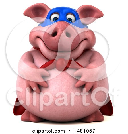 Clipart of a 3d Chubby Super Pig, on a White Background - Royalty Free Illustration by Julos