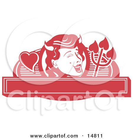 Pretty Shedevil With A Mole And Horns Over A Blank Banner Clipart Illustration