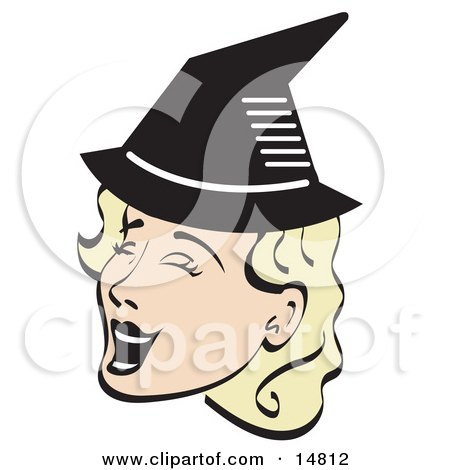 Pretty Blond Woman Singing And Wearing A Pointy Black Witch Hat On Halloween Posters, Art Prints