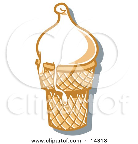 Vanilla Ice Cream In A Cone, Melting Over The Rim Clipart Illustration by Andy Nortnik