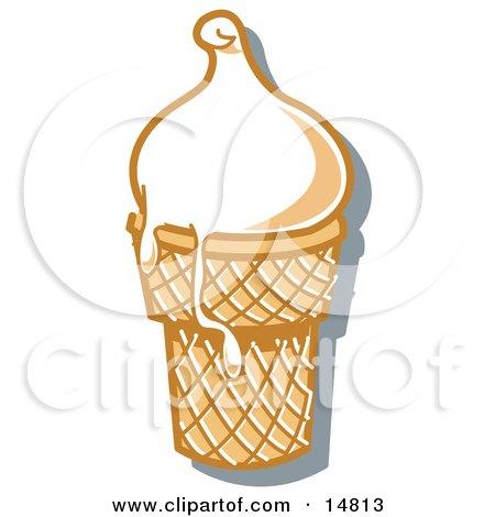 Vanilla Ice Cream In A Cone, Melting Over The Rim  Posters, Art Prints