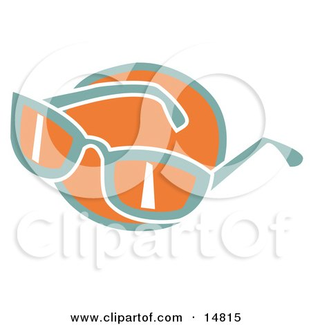 Pair Of Orange And Green Sunglasses Over An Orange Circle Clipart Illustration by Andy Nortnik