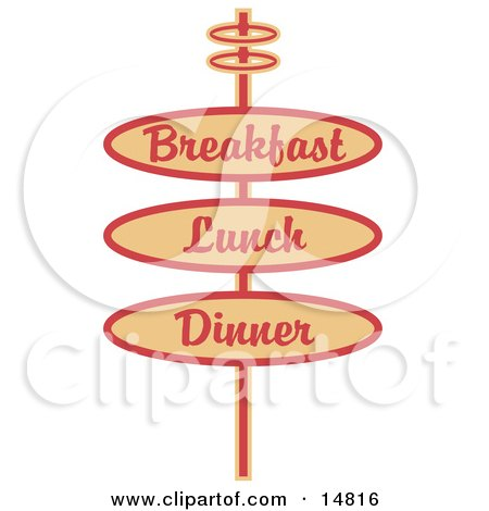 Vintage Tan Restaurant Sign Advertising Breakfast, Lunch And Dinner Clipart Illustration by Andy Nortnik