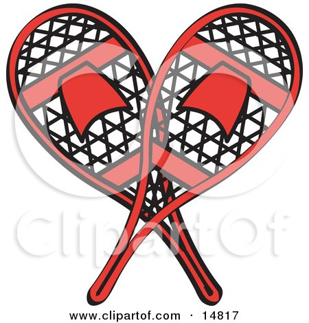 Pair of Red Snowshoes Crossed Retro Clipart Illustration by Andy Nortnik