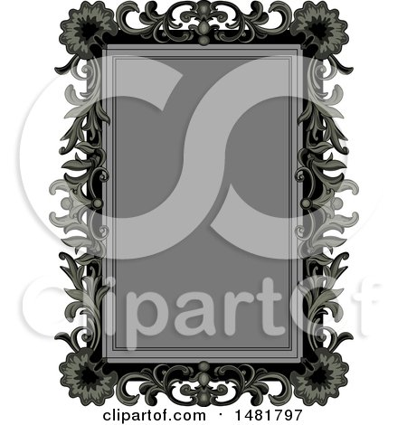 Clipart of a Gray and Black Vintage Floral Frame - Royalty Free Vector Illustration by Pushkin