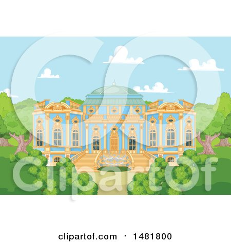 Clipart of a Blue and Gold Palace Exterior and Courtyard - Royalty Free Vector Illustration by Pushkin