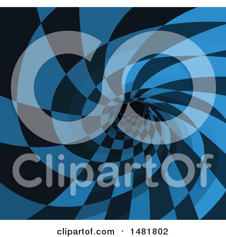 Clipart of a Blue and Black Checkered Rabbit Hole - Royalty Free Vector Illustration by Pushkin