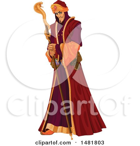 Clipart of a Villainous Grand Vizier Holding a Cobra Staff - Royalty Free Vector Illustration by Pushkin