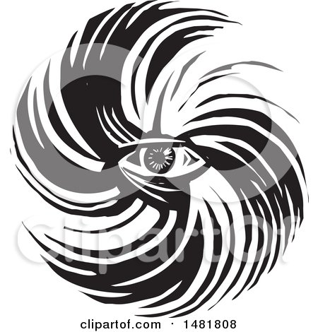 Clipart of a Human Eye in a Hurricane Black and White Woodcut Style - Royalty Free Vector Illustration by xunantunich