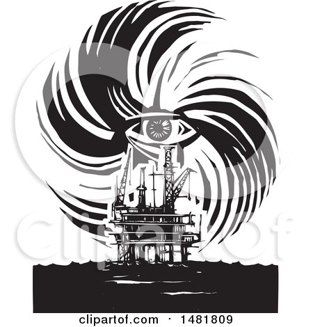 Clipart of a Human Eye in a Hurricane over an Oil Rig, Black and White Woodcut Style - Royalty Free Vector Illustration by xunantunich