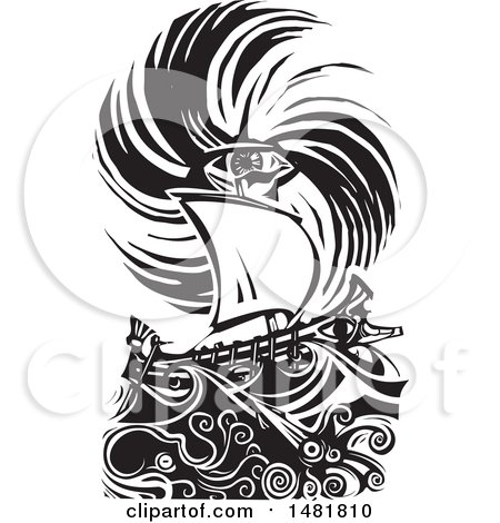 Clipart of a Human Eye in a Hurricane over a Greek Ship, Black and White Woodcut Style - Royalty Free Vector Illustration by xunantunich