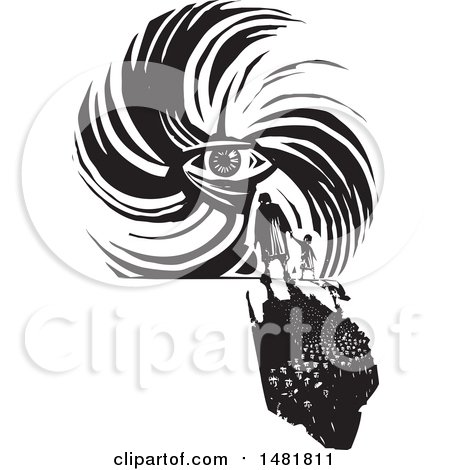 Clipart of a Crowd of Refugees Facing a Human Eye in a Hurricane Black and White Woodcut Style - Royalty Free Vector Illustration by xunantunich
