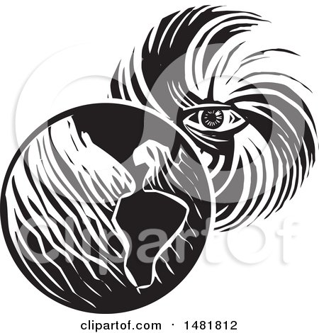 Clipart of a Human Eye in a Hurricane Facing Planet Earth Black and White Woodcut Style - Royalty Free Vector Illustration by xunantunich