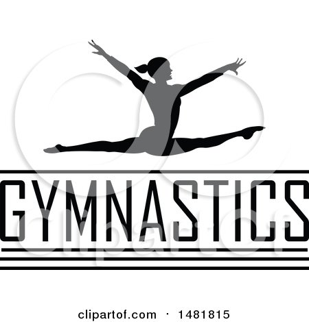 Clipart of a Black Silhouetted Woman Leaping and Doing the Splits in the Air over Gymnastics Text - Royalty Free Vector Illustration by Johnny Sajem