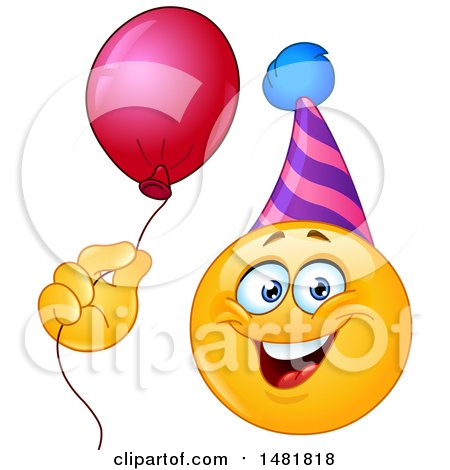 Clipart of a Yellow Emoji Smiley Face Wearing a Party Hat and Holding a Balloon - Royalty Free Vector Illustration by yayayoyo