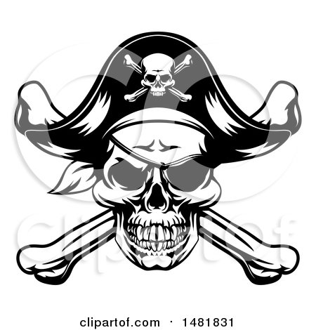 Clipart of a Black and White Oirate Skull and Crossbones Jolly Roger - Royalty Free Vector Illustration by AtStockIllustration