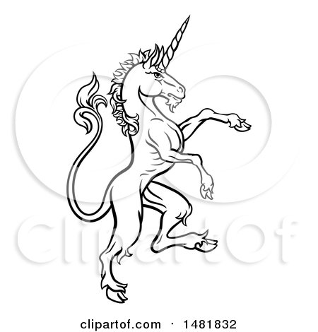 Clipart of a Black and White Heraldic Rampant Unicorn in Profile - Royalty Free Vector Illustration by AtStockIllustration