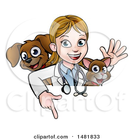 Clipart of a White Female Veterinarian Waving with a Cat and Dog over a Sign - Royalty Free Vector Illustration by AtStockIllustration