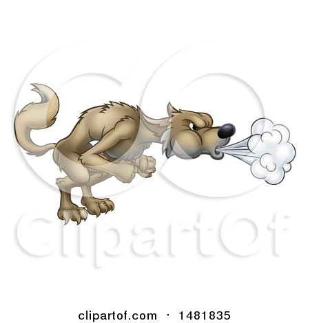 Clipart of a Big Bad Wolf Blowing - Royalty Free Vector Illustration by AtStockIllustration