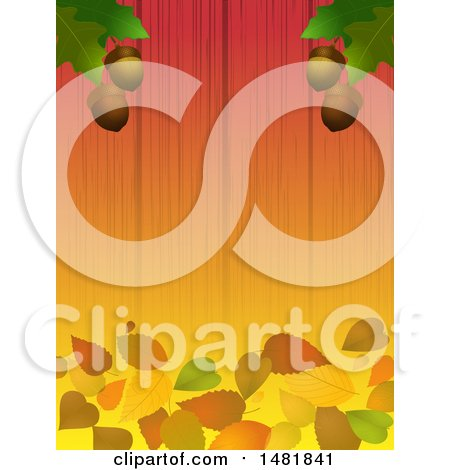 Clipart of a Background of Oak Leaves and Acorns over Fallen Leaves on Wood - Royalty Free Vector Illustration by elaineitalia