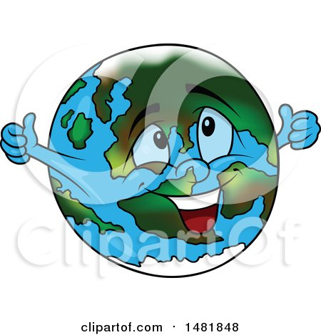 Clipart of a Cartoon Earth Globe Mascot Giving Two Thumbs up - Royalty Free Vector Illustration by dero