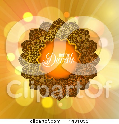 Clipart of a Happy Diwali Greeting with a Mandala - Royalty Free Vector Illustration by KJ Pargeter