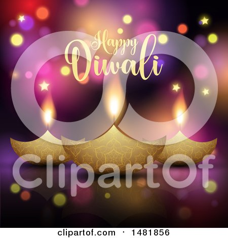 Clipart of a Happy Diwali Greeting with Oil Lamps - Royalty Free Vector Illustration by KJ Pargeter