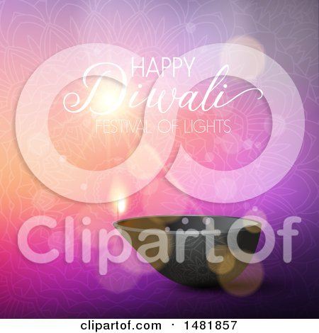 Clipart of a Happy Diwali Greeting over a Mandala - Royalty Free Vector Illustration by KJ Pargeter