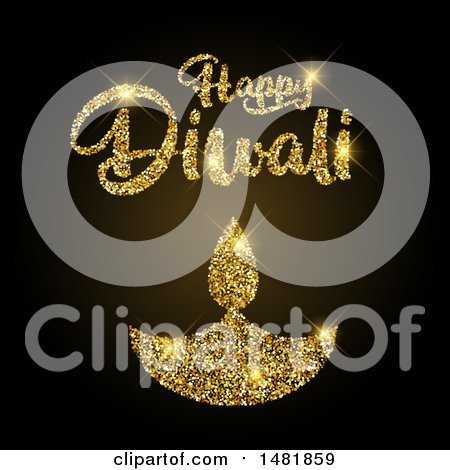 Clipart of a Happy Diwali Greeting with a Golden Glittery Lamp - Royalty Free Vector Illustration by KJ Pargeter