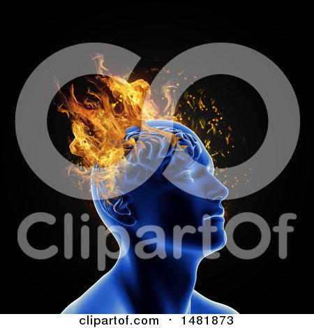 Clipart of a 3d Person with Flames on Their Head, Mental Health Issues - Royalty Free Illustration by KJ Pargeter
