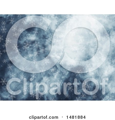 Clipart of a Falling Snowflake Background - Royalty Free Illustration by KJ Pargeter