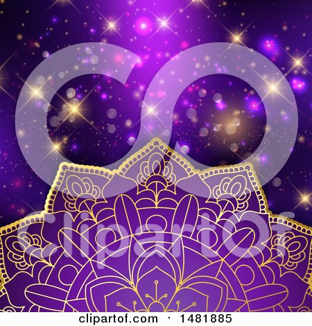 Clipart of a Purple and Gold Mandala over Flares - Royalty Free Vector Illustration by KJ Pargeter