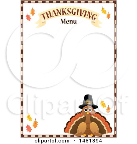 Clipart Of A Pilgrim Turkey With Thanksgiving Menu Text And Border