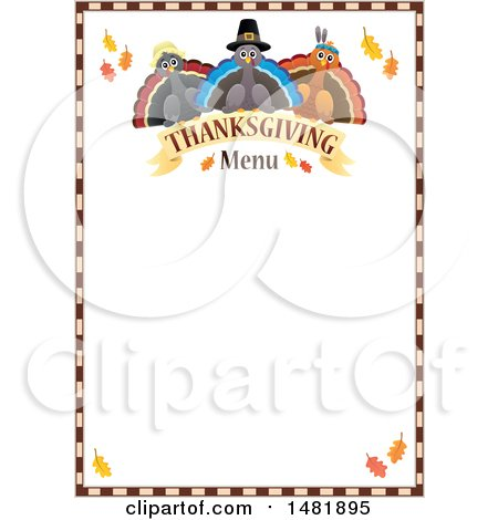 Clipart of Pilgrim Turkeys with Thanksgiving Menu Text and Border - Royalty Free Vector Illustration by visekart