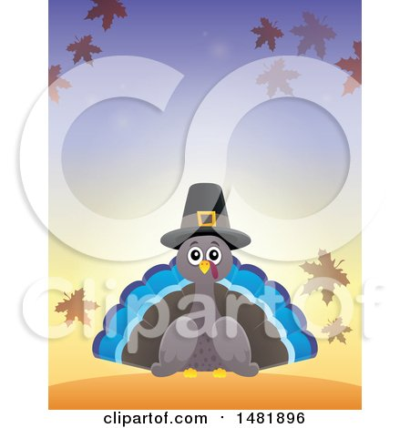 Clipart of a Thanksgiving Pilgrim Turkey Bird with Autumn Leaves - Royalty Free Vector Illustration by visekart