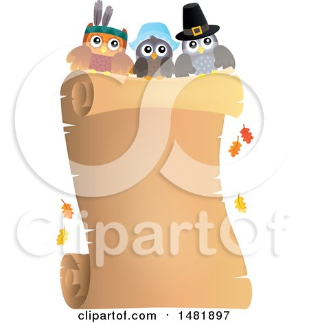 Clipart of Thanksgiving Owls over a Scroll - Royalty Free Vector Illustration by visekart