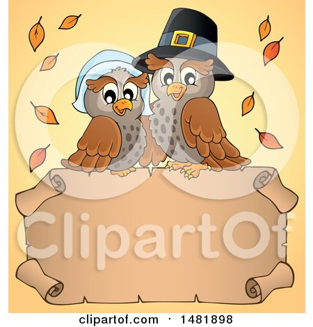 Clipart of a Thanksgiving Pilgrim Owl Couple over a Blank Banner - Royalty Free Vector Illustration by visekart