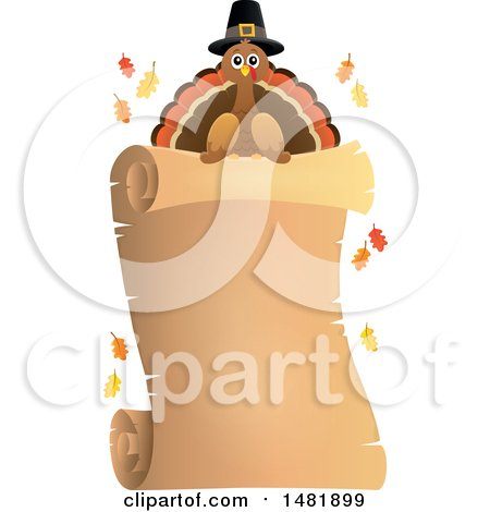 Clipart of a Parchment Scroll with a Pilgrim Turkey - Royalty Free Vector Illustration by visekart