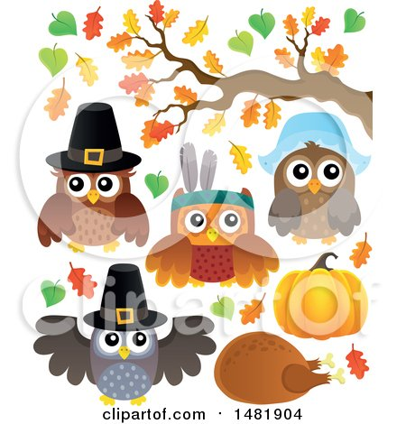 Clipart of Thanksgiving Owls - Royalty Free Vector Illustration by visekart