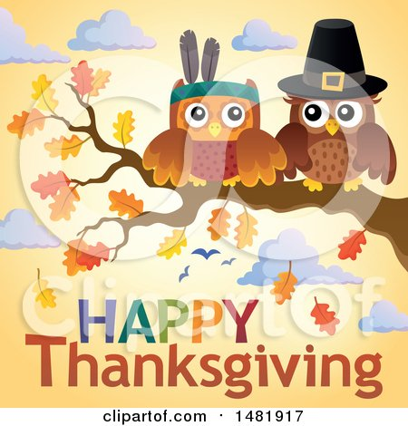 Clipart of a Thanksgiving Owls on a Branch over Text - Royalty Free Vector Illustration by visekart