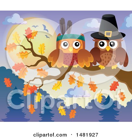 Clipart of a Thanksgiving Pilgrim and Native American Owl on a Branch - Royalty Free Vector Illustration by visekart