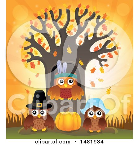 Clipart of a Group of Thanksgiving Owls at a Tree - Royalty Free Vector Illustration by visekart