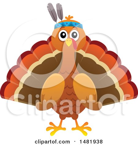 Clipart of a Thanksgiving Native Turkey Bird - Royalty Free Vector Illustration by visekart