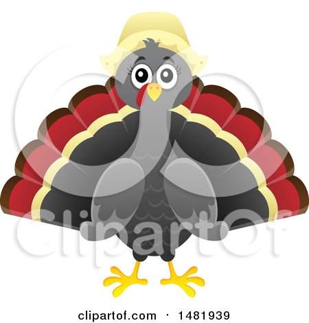 Clipart of a Female Thanksgiving Pilgrim Turkey Bird - Royalty Free Vector Illustration by visekart