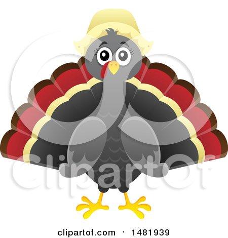 Female Thanksgiving Pilgrim Turkey Bird Posters, Art Prints